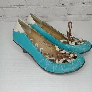 Fly London rockabilly blue/white kitten heel Sz 7